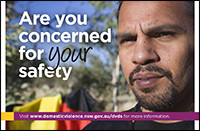 Postcard - Are you concerned for their safety? [Image of Aboriginal man]