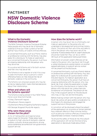 Factsheet - NSW Domestic Violence Disclosure Scheme